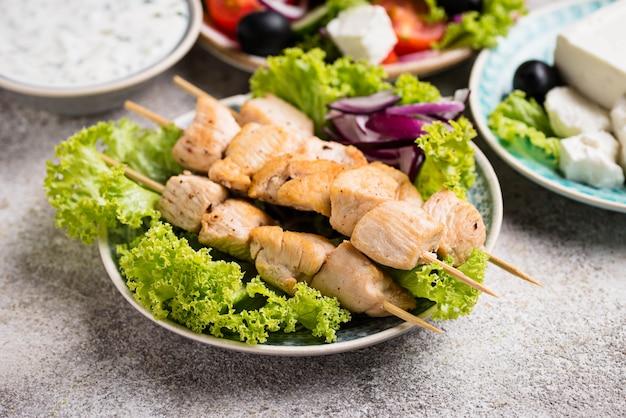 Traditional greek meat skewers souvlaki