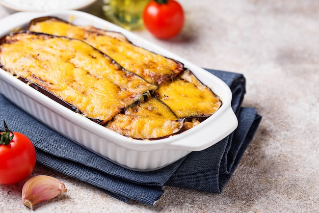 Traditional greek moussaka with aubergine