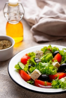 Traditional greek salad with feta