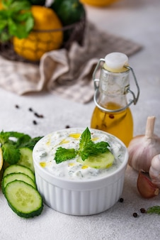 Traditional greek sauce or appetizer tzatziki