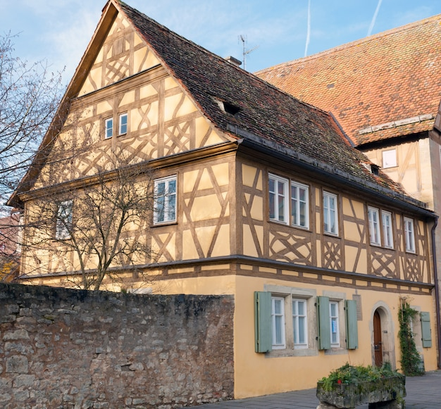 Traditional half timbered school in rothenburg ob der tauber