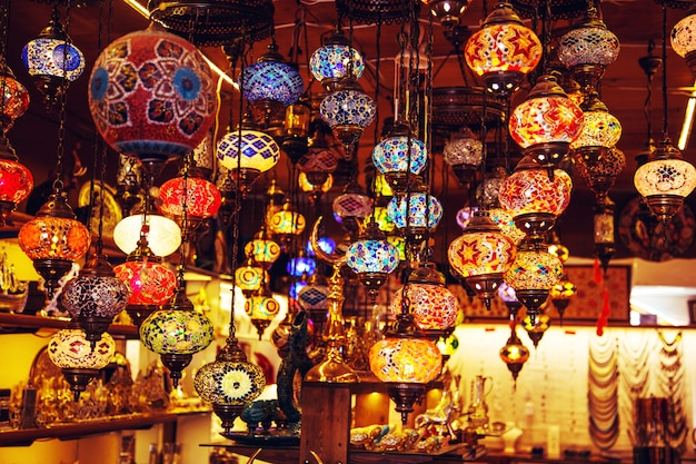 Traditional handmade turkish lamps in souvenir shop.