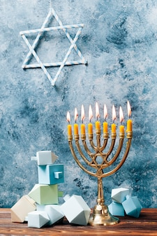 Traditional hanukkah candles on a table