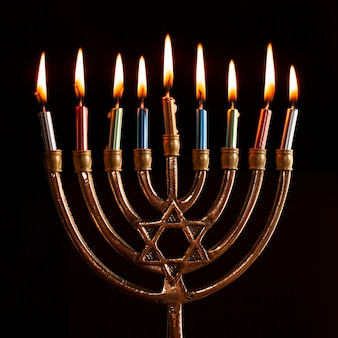 Traditional hanukkah menorah burning