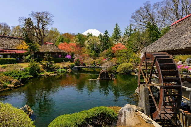 Traditional heritage house with garden and mt. fuji view from oshino hakkai, japan