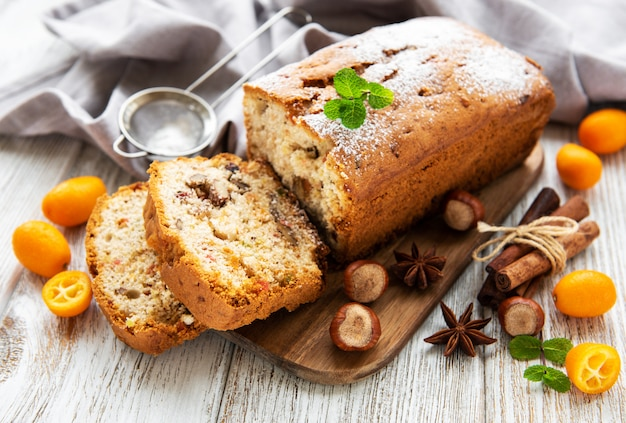 Traditional homemade stollen with dried fruits and nuts