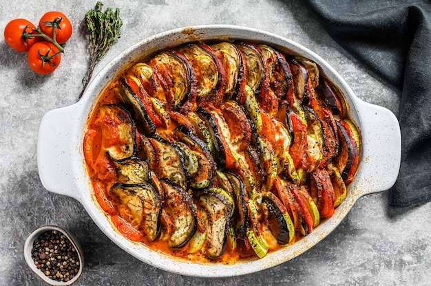 Traditional homemade vegetable ratatouille baked in dish.  top view.