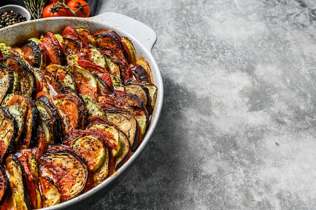 Traditional homemade vegetable ratatouille baked in dish