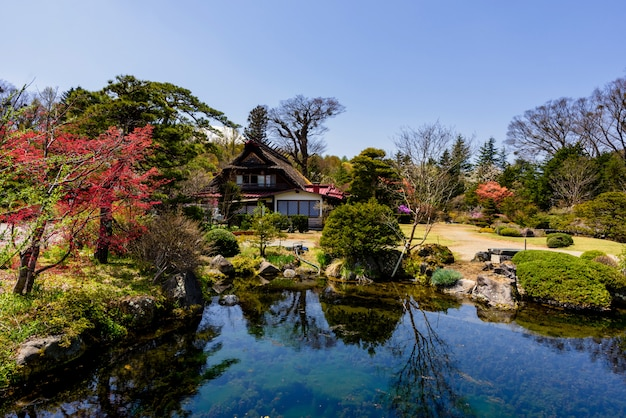 Traditional house with beautiful spring garden