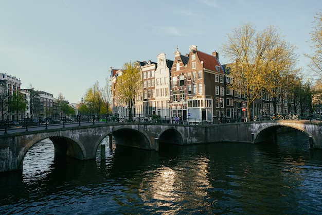Traditional houses and amsterdam canal