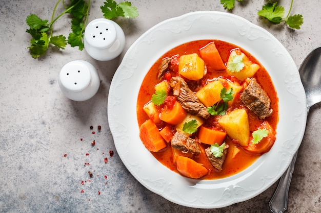 Traditional hungarian goulash. beef stew with potatoes, carrots and paprika in white plate, top view, copy space.