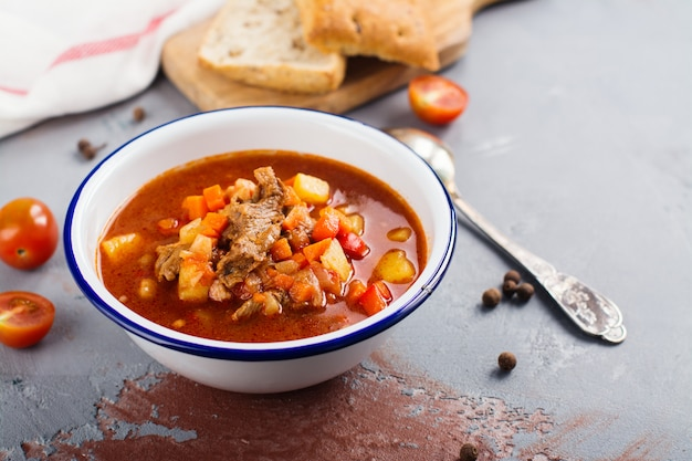Traditional hungarian goulash soup