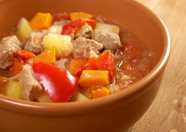 Traditional hungarian homemade hot goulash soup