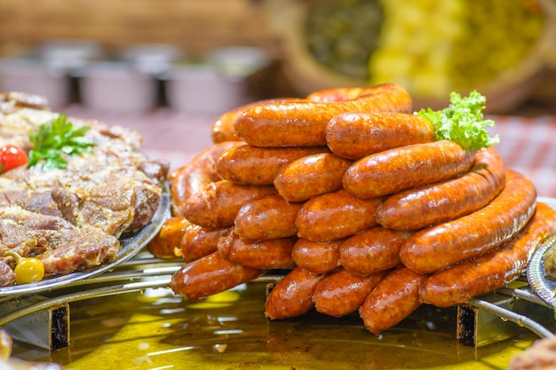 Traditional hungarian pig slaughter dishes, fried sausages
