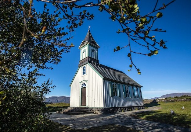 Traditional iceland church in ãƒâžingvallavatn. iceland