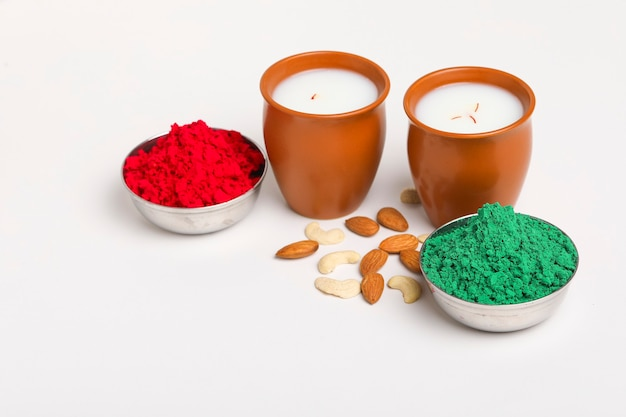 Traditional indian beverage, holi festival food, thandai sardai milk drink with nuts,