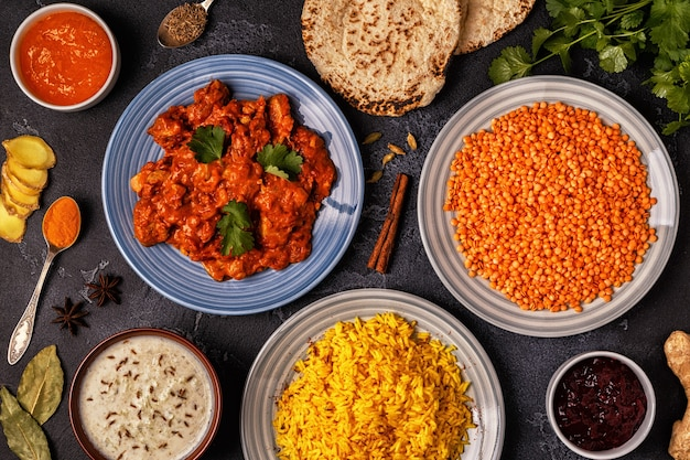 Traditional indian curry with rice, lentils