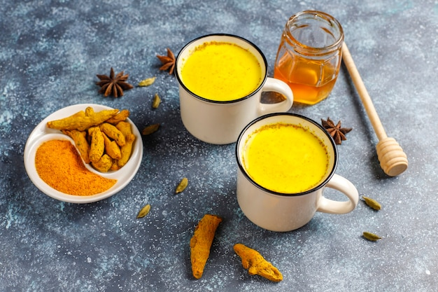 Traditional indian drink turmeric golden milk . Free Photo