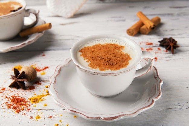 Traditional indian hot tea with spices