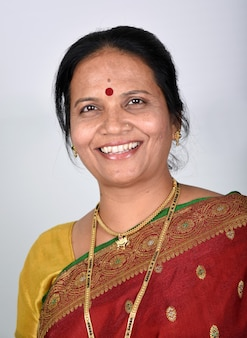 Traditional indian woman on white background