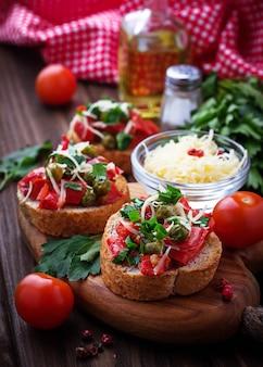 Traditional italian antipasti bruschetta with vegetable