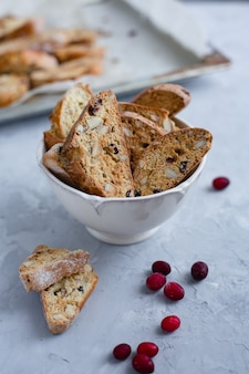 Traditional italian cranberry almond biscotti biscuits