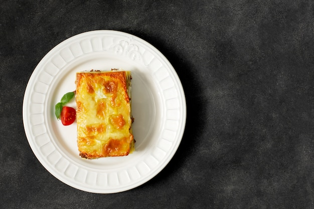 Traditional italian lasagna made with minced beef. horizontal orientation