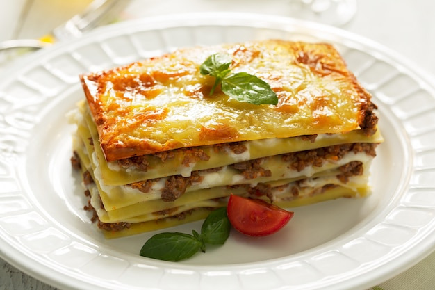 Traditional italian lasagna made with minced beef. side view