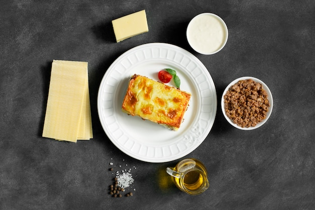 Traditional italian lasagna made with minced beef