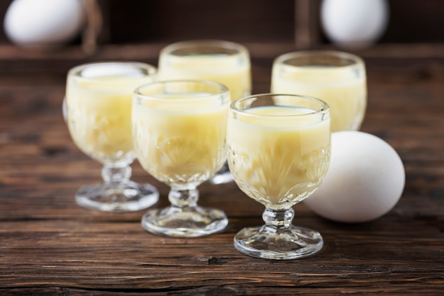 Traditional italian liquor vov with eggs