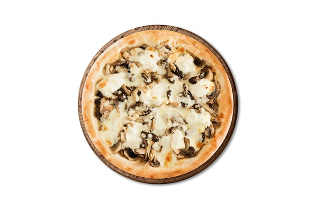 Traditional italian pizza with champignons and mozzarella on wooden board isolated