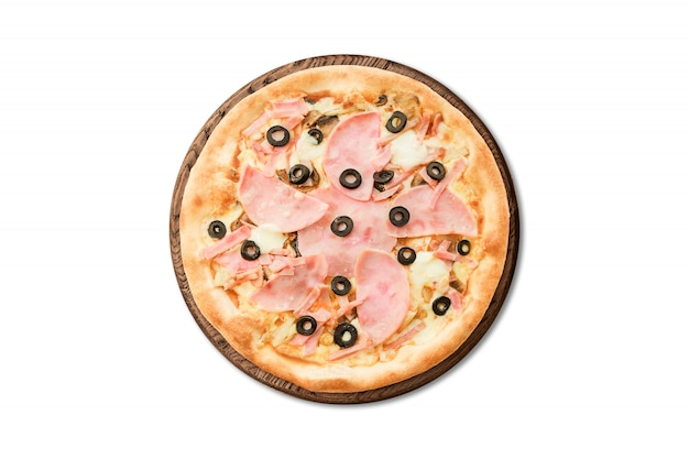 Traditional italian pizza with ham and olives on wooden board isolated on white background for menu