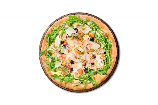 Traditional italian pizza with mussels, arugula and parmesan on wooden board isolated