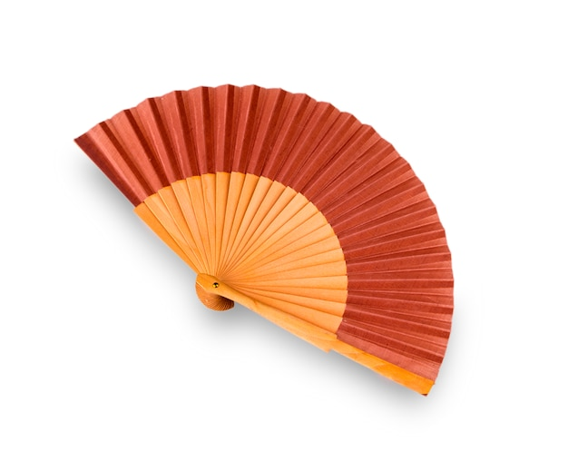 Traditional japanese brown fan on white wall.