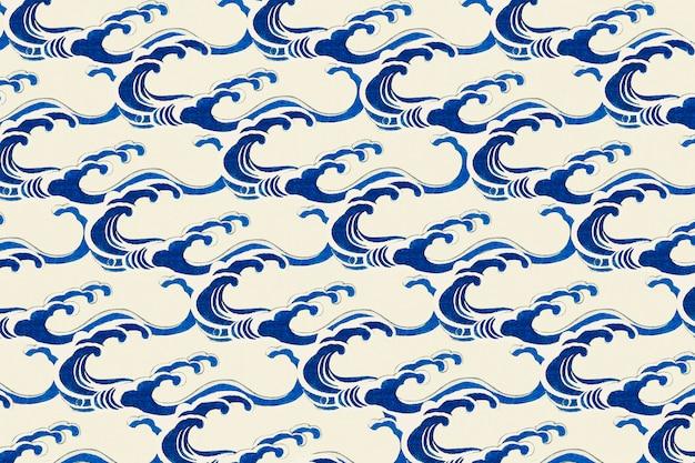 日本の伝統的な波模様、渡辺省亭によるアートワークのリミックス