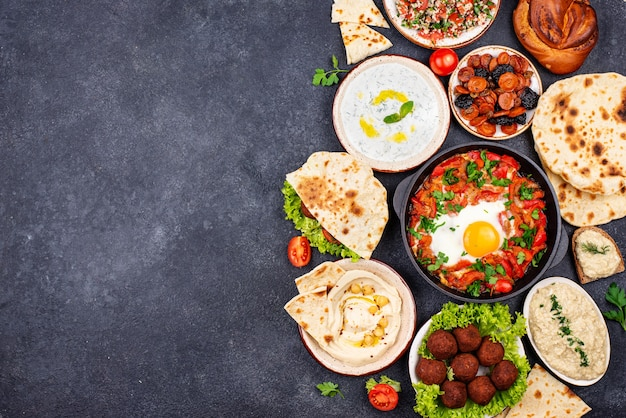 Traditional jewish israeli and middle eastern food