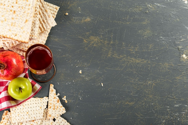 Traditional jewish kosher matzo for easter background, top view