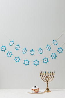 Traditional jewish menorah on a table