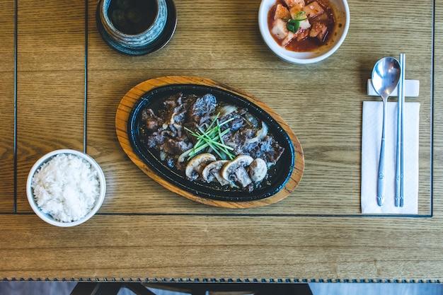 Traditional korean bulgogi barbecue beef meat
