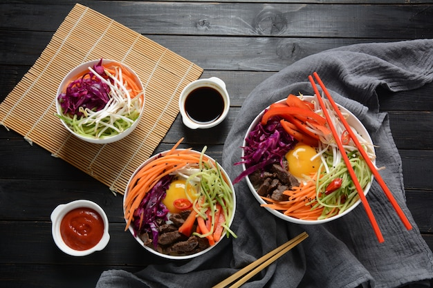 한국 전통 요리-비빔밥, 계란, 쇠고기, 야채 밥