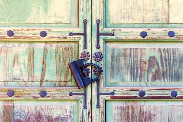 Traditional korean wooden door with vintage style lock.