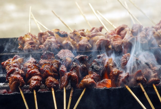 Traditional  lamb satay from yogyakarta, indonesia