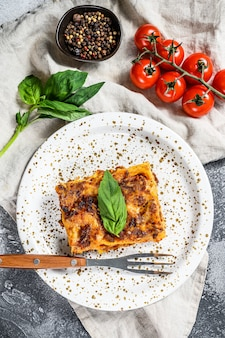 Traditional lasagna made with minced beef, bolognese and bechamel sauces