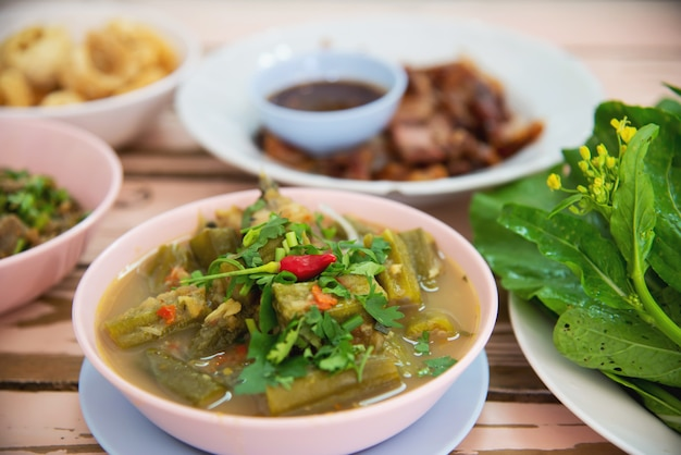 Traditional local northern thai style food meal
