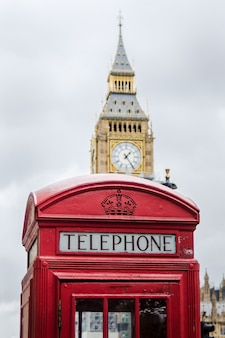 Traditional london phone box with big ben in the background