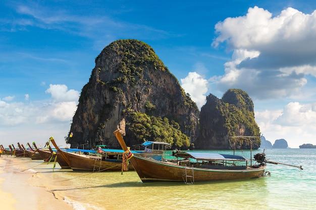 Traditional long tail boat on ao phra nang beach, krabi, thailand