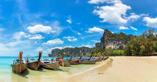 Traditional long tail boat on railay beach, krabi, thailand
