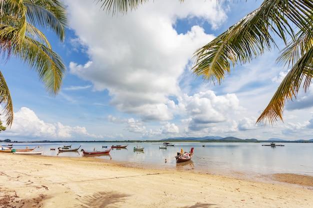 プーケット島のココヤシの木のフレームとビーチに駐車する伝統的なロングテールボート