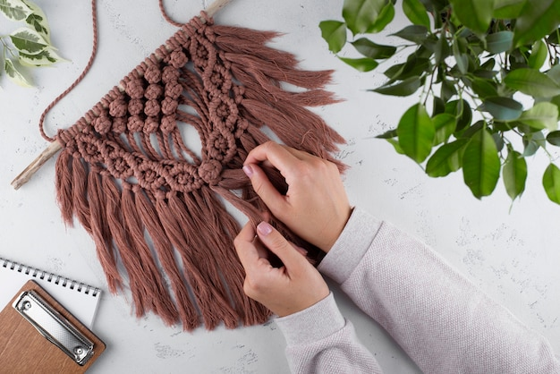 Traditional macrame composition indoors