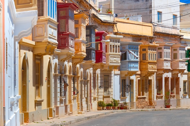 The traditional maltese colorful wooden balconies in sliema, malta